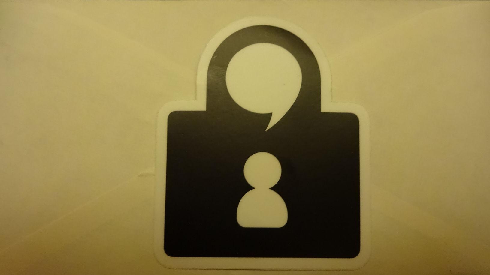 Our die-cut Tox lock logo sticker