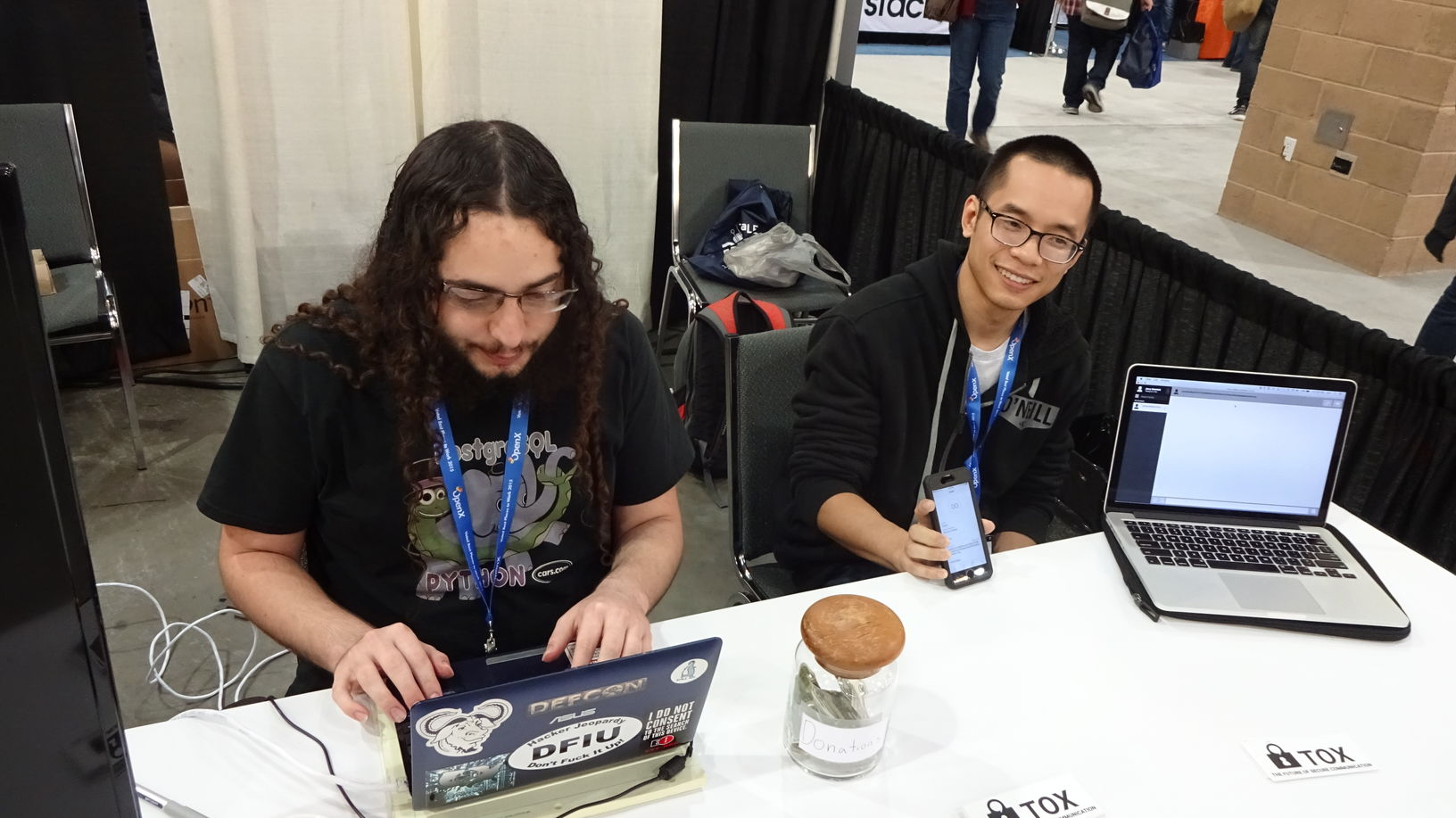 Chuong Vu (right) and myself (left) getting ready to show off some Tox clients.